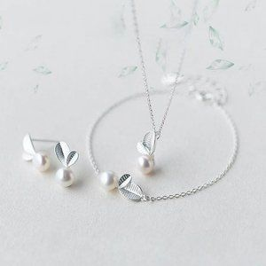 NEW [Set of 3] 925 Sterling Silver Pearl Leaf Set